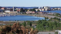 View of Swedish coastal city of Karlskrona in the morning. Stock Footage