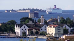 Stena Line ferry between Poland and Sweden arrive in Karlskrona. Stock Footage