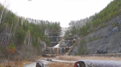 Large chain saw for the cliffs. Russia. 1280x720 Stock Footage