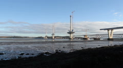 Queensferry Crossing under construction and Forth Bridges Scotland Stock Footage