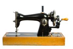 Old black sewing machine isolated ob white Stock Photos