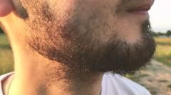 Closeup of man beard hair Stock Footage