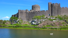 The beautiful Pembroke Castle in Wales with it's moat. Stock Footage