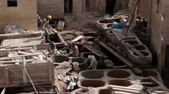 Tanneries under construction - October 1st, 2015 Fez, Morocco Stock Footage