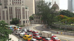 Aerial view Hong Kong traffic road bustling car congestion central street travel - stock footage
