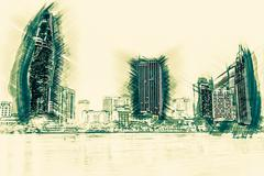 Cityscape of Ho Chi Minh at night - stock illustration