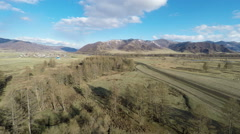 HD Aerial Footage Flying over Trees in Mongolian Mountains - stock footage
