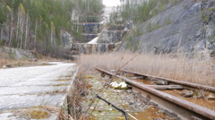 Rails in career. Russia. 4K Stock Footage