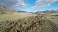 HD Aerial Footage Rising Above Mongolian Prairie - stock footage