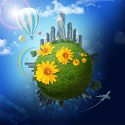 Earth with modern city and flowers Stock Illustration