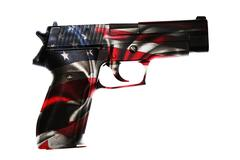 Handgun and American flag composite - stock photo