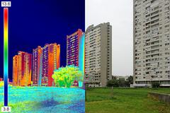 Stock Illustration of Infrared and real image on Residential building