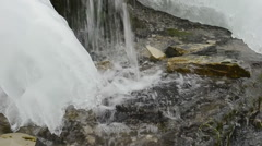 Freezing creek in early winter Stock Footage