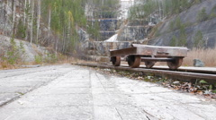 The cart on rails. Russia. 4K Stock Footage