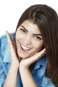 Beautiful  businesswoman smiling with open mouth and open palms Stock Photos