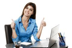 Happy smiling cheerful young business woman with okay gesture, isolated on wh Stock Photos