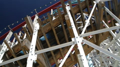 Wooden roller coaster at Gröna Lund amusement park in central Stockholm Stock Footage