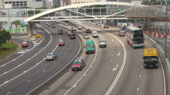 Aerial view Hong Kong busy road freeway people commute highway asian travel icon Stock Footage