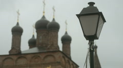 Street lamp against the backdrop of the domes Stock Footage