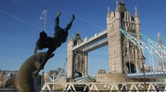 Stock Video Footage of Tower Bridge Opening - 4X Normal Speed