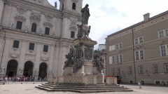 4k Virgin Mary statue Cathedral Square Salzburg Austria Stock Footage