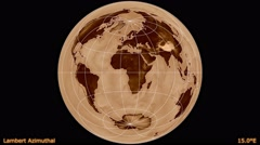 Animated world map in the Lambert Azimuthal projection. Luminance blending. Stock Footage