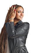 Beautiful girl with dreadlocks hair portrait Stock Photos