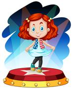 Little girl standing on stage - stock illustration