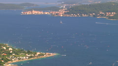 Beautiful shot of the canal between Croatian islands Korcula and Peljesac Stock Footage