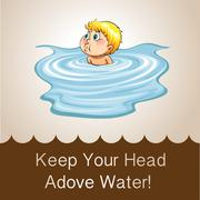 Idiom keep your head above water Stock Illustration