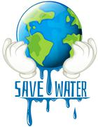 Save water sign with earth melting Stock Illustration