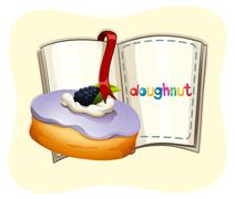 Blueberry flavor doughnut and book Stock Illustration