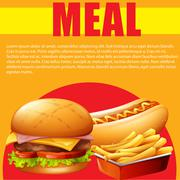 Meal poster with hamburger and fries - stock illustration
