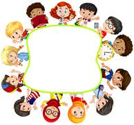 Border design with boys and girls Stock Illustration