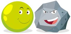 Ball and rock with facial expression - stock illustration