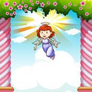 Angel flying in the sky - stock illustration