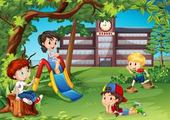 Students playing in the school playground - stock illustration