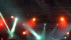 4k Stage Lights. Orange. Bright stage lights flashing - stock footage