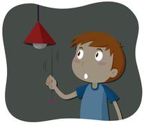 Boy turning off the light - stock illustration