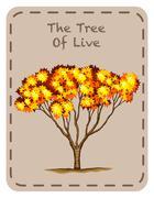 Tree of live with orange leaves - stock illustration