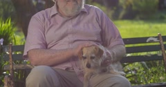 Happy smiling portrait of senior retired elderly male grandfather with dog Stock Footage
