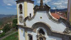 Aerial view of the Church of Nossa Senhora da Conceicao in Ouro Preto Stock Footage