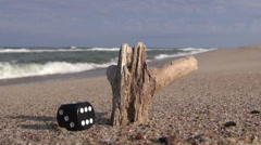 Lucky black dice and piece of wood on  sand by sea Stock Footage