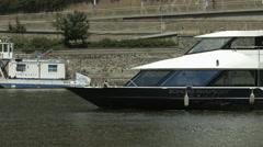 Boats floating on Vltava River in Prague Stock Footage