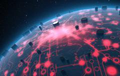 Alien Planet With Illuminated Network - stock illustration