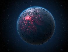 Alien Planet With Illuminated Network Stock Illustration