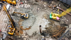 Machines are Working at Construction Site Stock Footage
