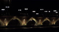 Old Bridge of Bordeaux at night Stock Footage