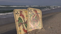 King and queen antique cards on the resort  beach Stock Footage