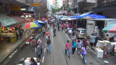 Stock Video Footage of POV Point of view Hong Kong famous market street North Point business commerce